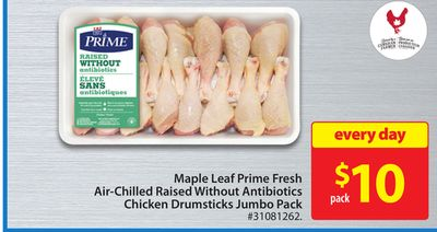 Maple Leaf Prime Fresh Air-chilled Raised Without Antibiotics Chicken Drumsticks Jumbo Pack