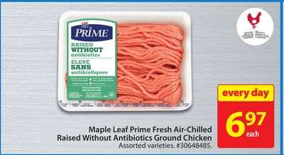 Maple Leaf Prime Fresh Air-chilled Raised Without Antibiotics Ground Chicken