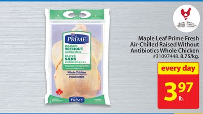 Maple Leaf Prime Fresh Air-chilled Raised Without Antibiotics Whole Chicken