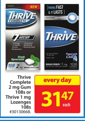 Thrive Complete 2 Mg Gum 108s or Thrive 1 Mg Lozenges 108s
