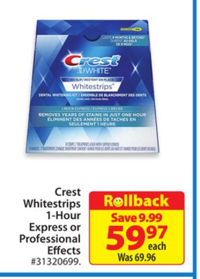 Crest Whitestrips 1-hour Express or Professional Effects