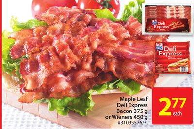 Maple Leaf Deli Express Bacon 375 g or Wieners 450 g
