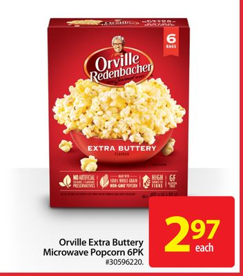Orville Extra Buttery Microwave Popcorn 6pk