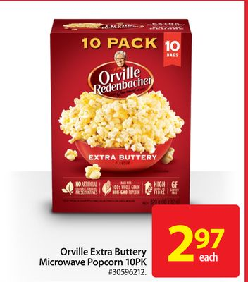 Orville Extra Buttery Microwave Popcorn 10pk