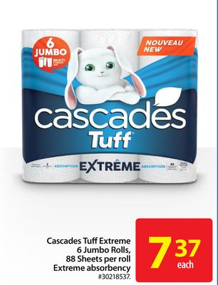 Cascades Tuffextreme 6 Jumbo Rolls - 88 Sheets Per Roll Extreme Absorbency