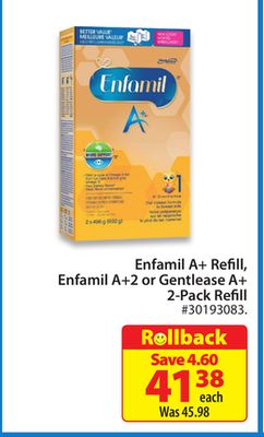 Enfamil A+ Refill - Enfamil A + 2 or Gentlease A + 2-pack Refill