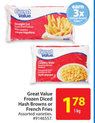 Great Value Frozen Diced Hash Browns or French Fries