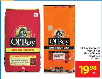 Ol Roy Complete Nutrition or Meaty Chunks Dog Food