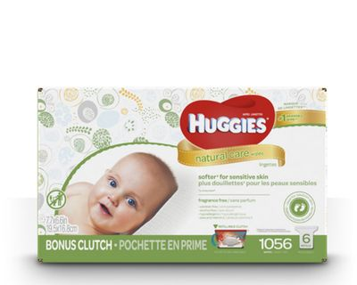 Natural Care Fragrance Free Baby Wipes With Bonus Clutch