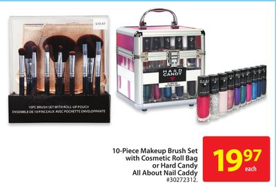 10-piece Makeup Brush Set With Cosmetic Roll Bag or Hard Candy All About Nail Candy