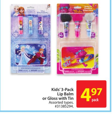Kids' 3-pack Lip Balm or Gloss With Tin