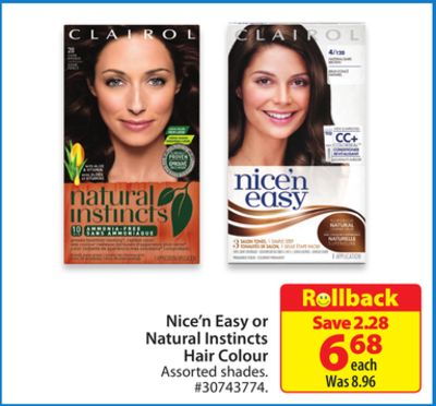 Clairol Nice'n Easy or Natural Instincts Hair Colour