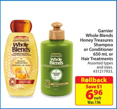 Garnier Whole Blends Honey Treasures Shampoo or Conditioner or Hair Treatments