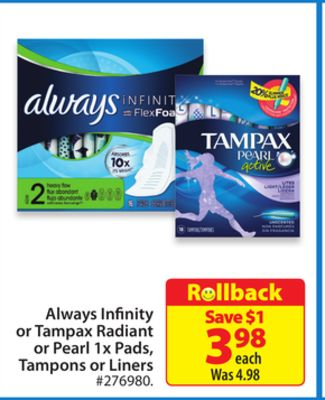 Always Infinity or Tampax Radiant or Pearl 1 X Pads - Tampons or Liners