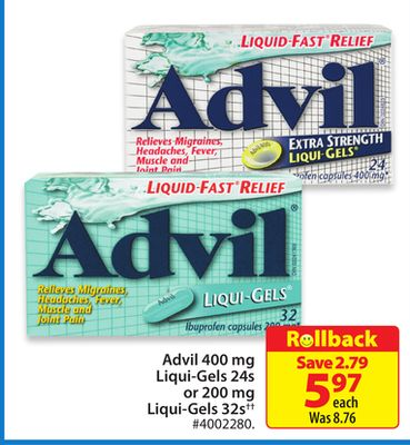 Advil 400 Mg Liqui-gels 24s or 200 Mg Liqui-gels 32s