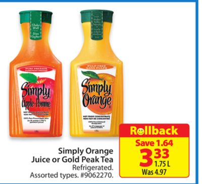 Simply Orange Juice or Gold Peak Tea