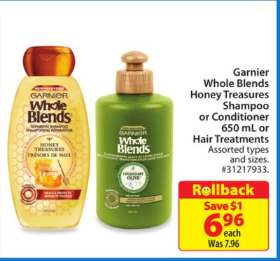 Garnier Whole Blends Honey Treasures Shampoo or Conditioner 650 mL or Hair Treatments