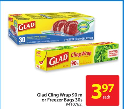 Glad Cling Wrap 90 M or Freezer Bags 30s