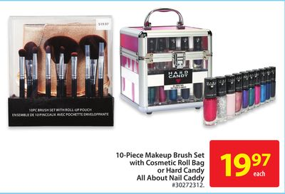 10-piece Makeup Brush Set With Cosmetic Roll Bag or Hard Candy All About Nail Caddy