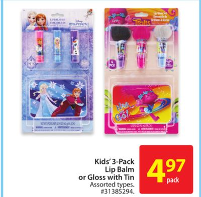 Kids 3-pack Lip Balm Or Gloss With Tin