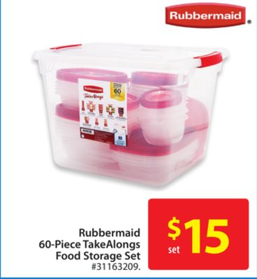 Rubbermaid 60-piece Takealongs Food Storage Set