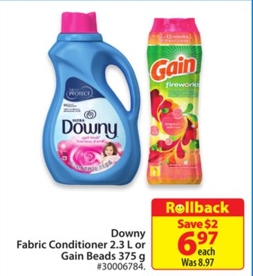 Downy Fabric Conditioner 2.3 L or Gain Beads 375 g
