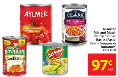 Assorted Mix and Match Pantry Canned Basics (Pasta - Beans - Veggies or Tomatoes)