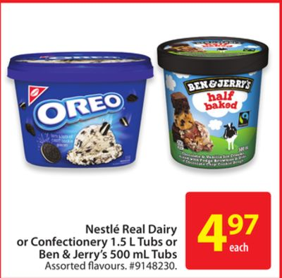 Nestlé Real Dairy or Confectionery 1.5 L Tubs or Ben & Jerry's 500 mL Tubs