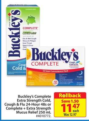 Buckley's Complete Extra Strength Cold - Cough & Flu 24-hour 48s or Complete + Extra Strength Mucus Relief 250 mL