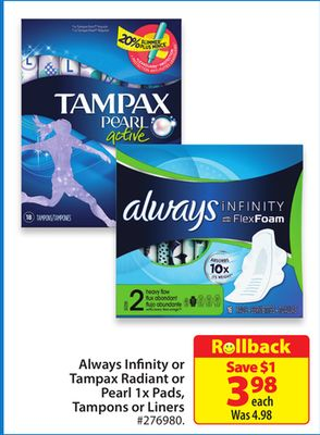 Always Infinity or Tampax Radiant or Pearl 1x Pads - Tampons or Liners