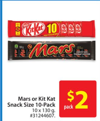 Mars or Kit Kat Snack Size