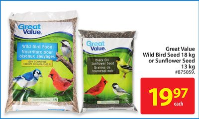 Great Value Wild Bird Seed 18 Kg or Sunflower Seed 13 Kg