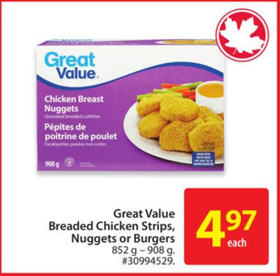 Great Value Breaded Chicken Strips - Nuggets or Burgers