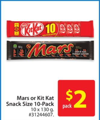Mars or Kit Kat Snack Size 10-pack