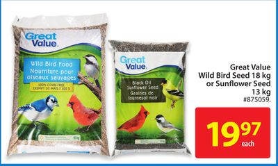 Great Value Wild Bird Seed 18 Kg or Sunflower Seed