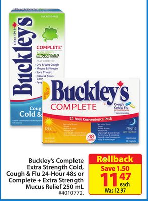 Buckley's Complete Extra Strength Cold - Cough & Flu 24-hour 48s or Complete + Extra Strength Mucus Relief