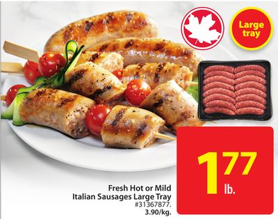 Fresh Hot or Mild Italian Sausages Large Tray