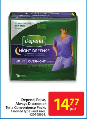 Depend - Poise - Always Discreet or Tena Convenience Packs