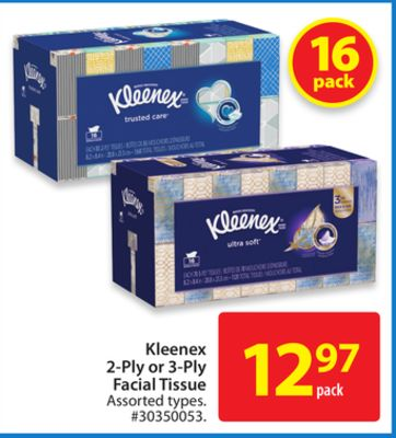 Kleenex 2-ply or 3-ply Facial Tissue