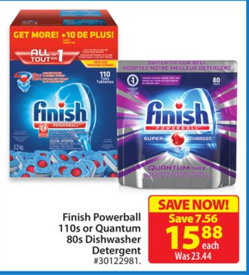 Finish Powerball 110s or Quantum 80s Dishwasher Detergent