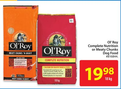 Ol' Roy Complete Nutrition or Meaty Chunks Dog Food