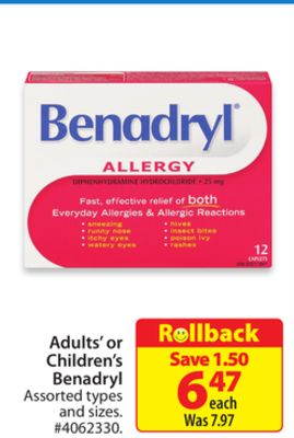 Adults' or Children's Benadryl