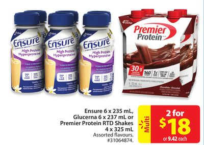 Ensure 6 X 235 mL - Glucerna 6 X 237 mL or Premier Protein Rtd Shakes 4 X 325 mL