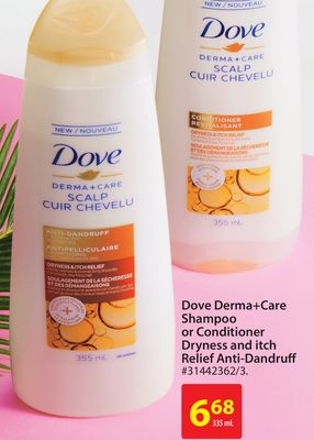 Dove Derma+care Shampoo or Conditioner Dryness and Itch Relief Anti-dandruff