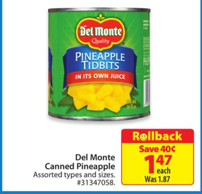 Del Monte Canned Pineapple