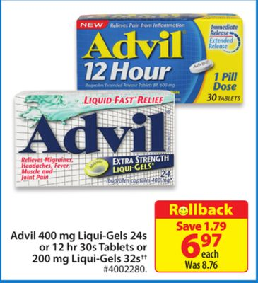 Advil 400 Mg Liqui-gels 24s or 12 Hr 30s Tablets or 200 Mg Liqui-gels 32s