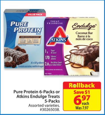 Pure Protein 6-packs or Atkins Endulge Treats 5-packs