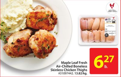 Maple Leaf Fresh Air-chilled Boneless Skinless Chicken Thighs