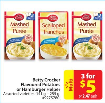 Betty Crocker Flavoured Potatoes or on sale | Salewhale.ca