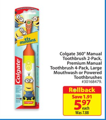 Colgate 360° Manual Toothbrush 2-pack - Premium Manual Toothbrush 4-pack - Large Mouthwash or Powered Toothbrushes